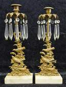 Victorian Marble, Brass & Crystal Candle Holders