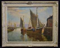 William Ward Jr. Harbor Scene O/C