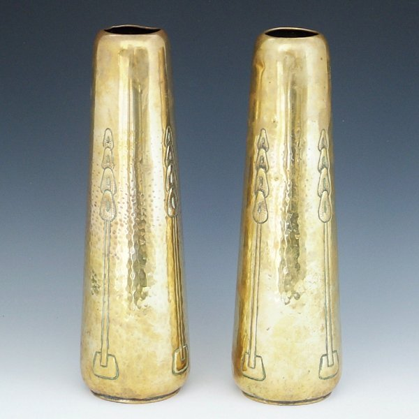 341: Pair of WMF brass Secessionist style tall vases, N
