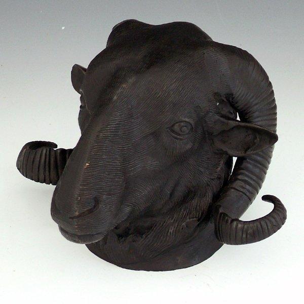 344: Bronze model of a ram's head, length 17cm, unmount
