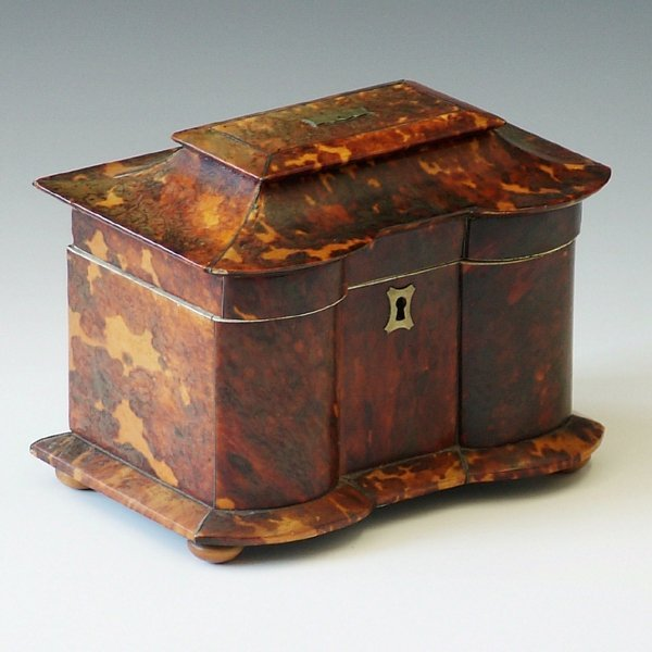 348: Regency tort*iseshell tea caddy, with pewter strin