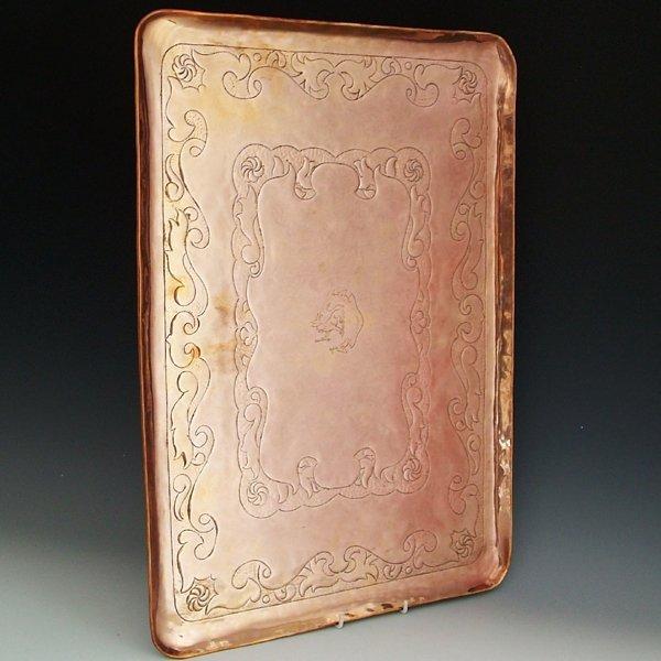 351: Newlyn Industrial Class rectangular copper tray, d