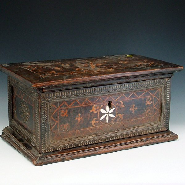 357: Continental walnut box, late 17th century, with in