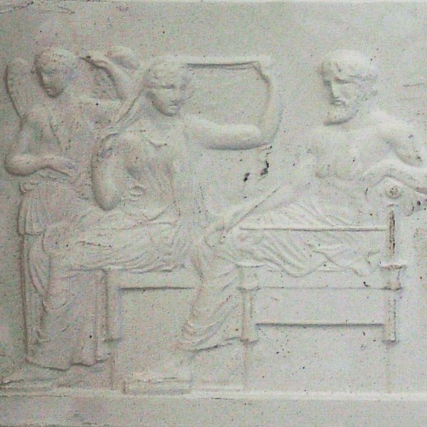 359: Mahogany box containing eleven plaster miniatures