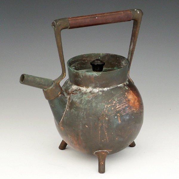 360: Christopher Dresser brass and copper kettle design