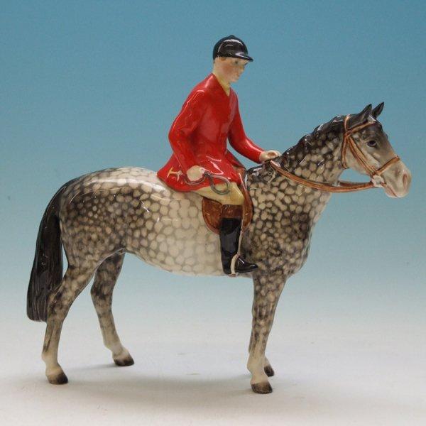 539: Beswick Huntsman on rocking horse grey horse  21cm
