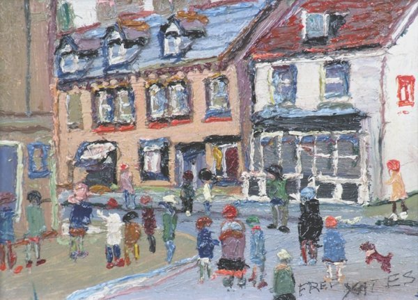 2: Fred Yates (1922-),  Street scene with figures, sign