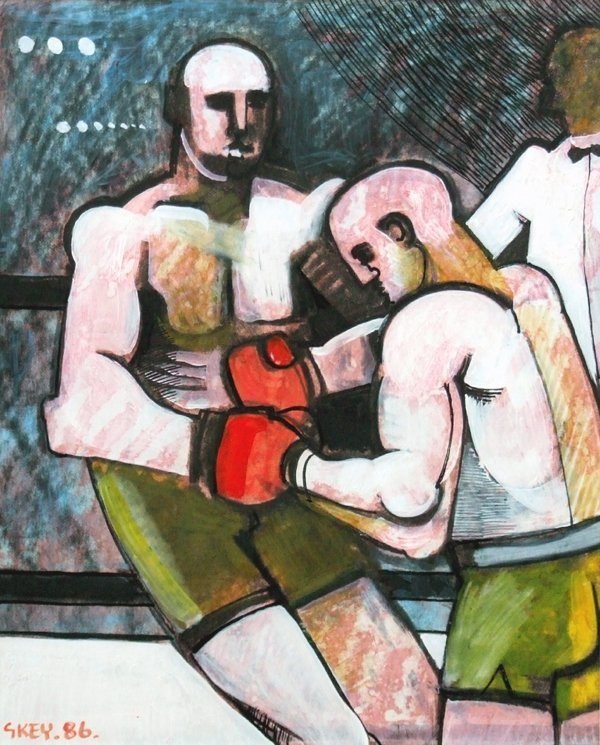 4: Geoffrey Key (1941-),  Boxers, signed and dated '86,
