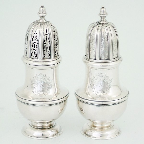 250: Pair of Dublin silver sugar casters, possibly 1728