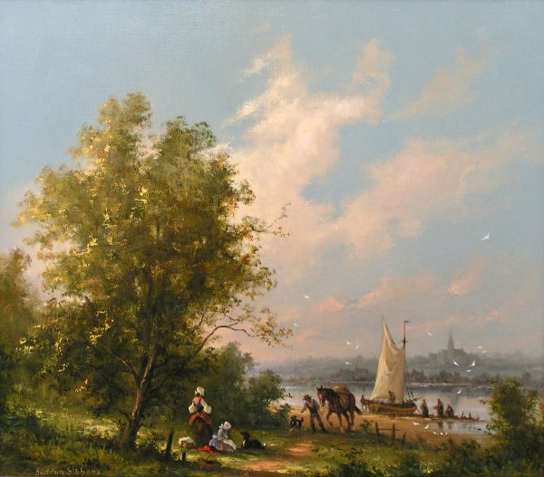 2: Gudrun Sibbons - river scene, oil
