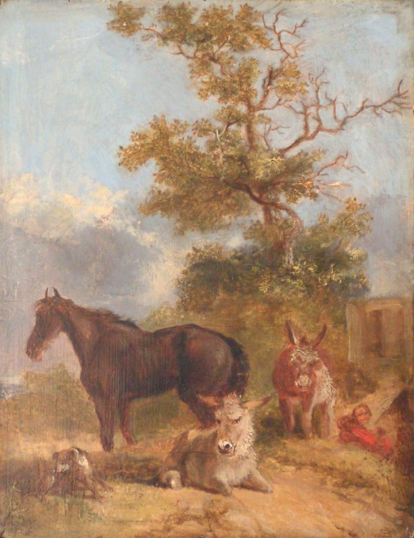 9: C. J. Croome, Oil on board horse and donkey