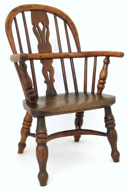 Child's yew wood Windsor chair.