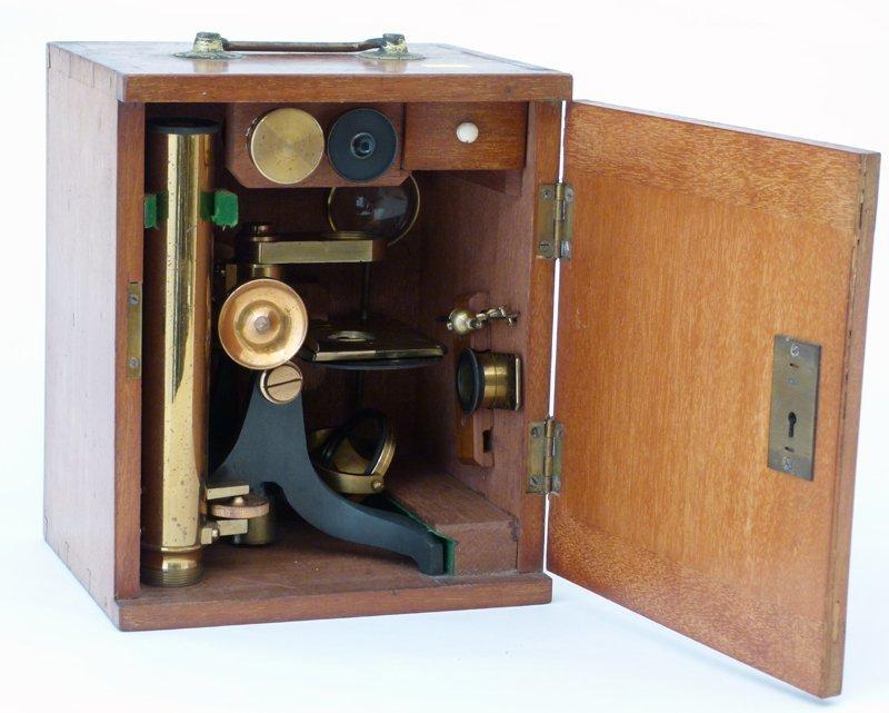 Cased microscope.