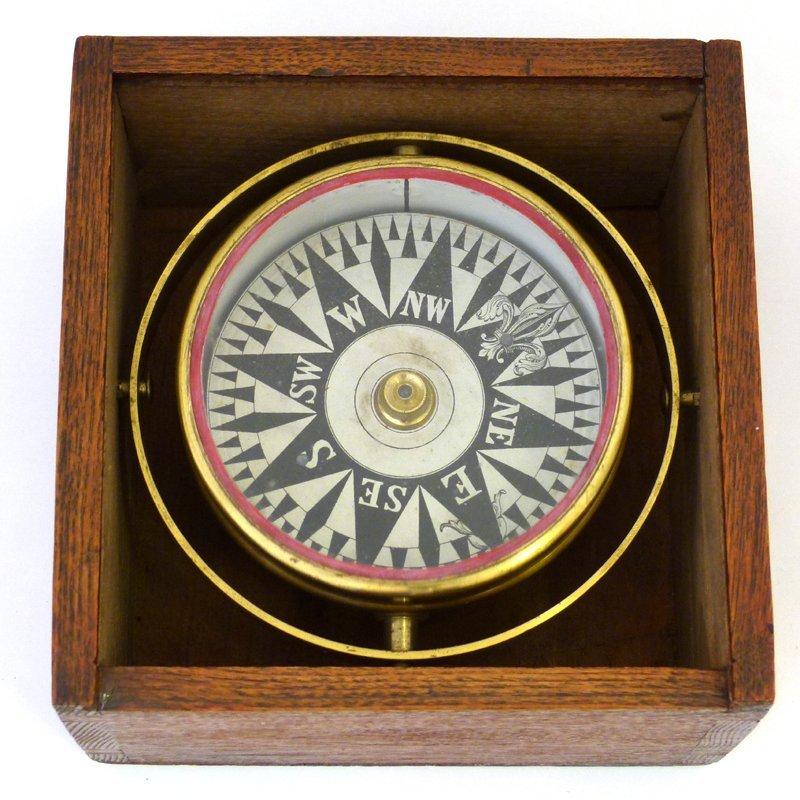 1820/40 dry card brass gimble compas.