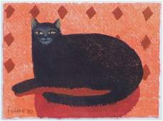Mary Fedden, Black Cat, watercolour.