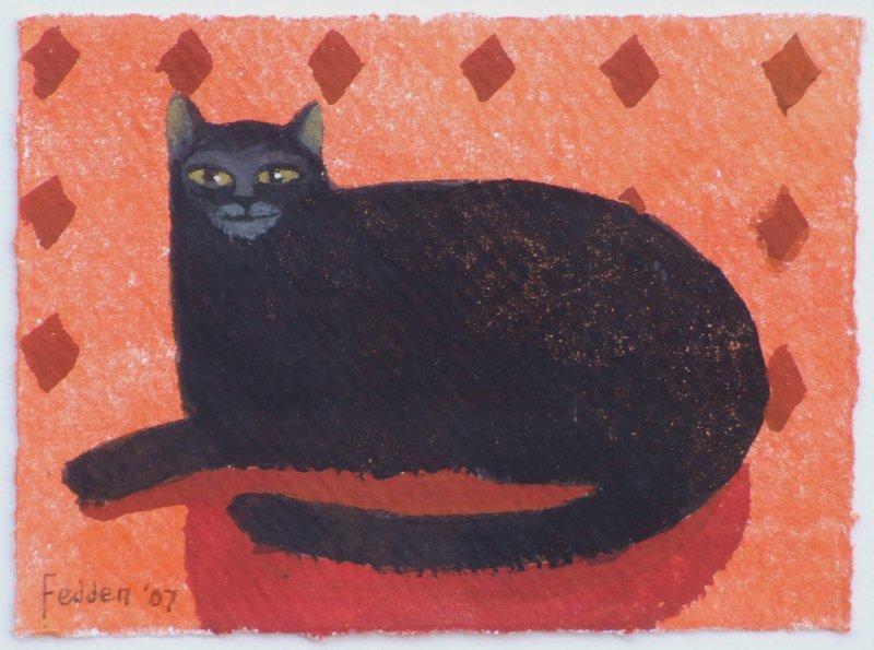 Mary Fedden, Black Cat, watercolour.