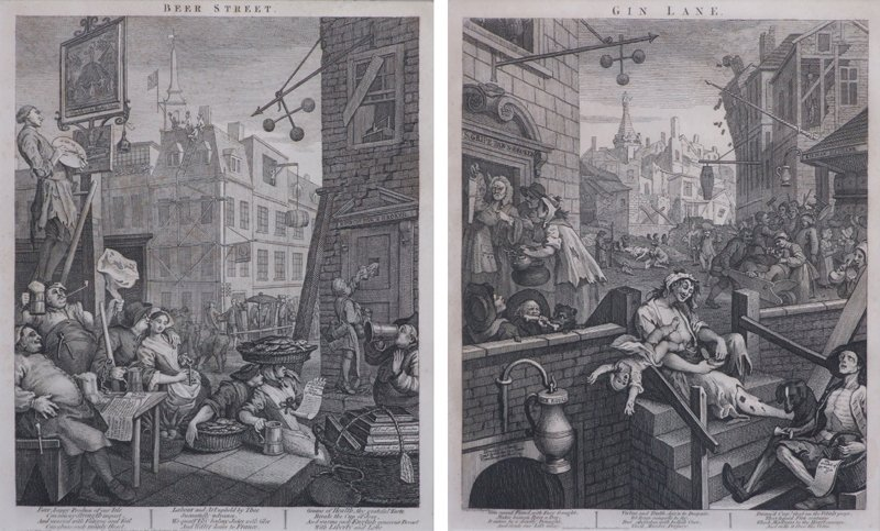 William Hogarth, Beer Street and Gin Lane, engravings