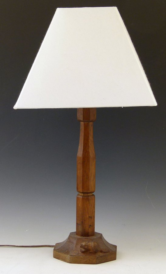 Oak table lamp by Colin Almack, the Beaverman, the