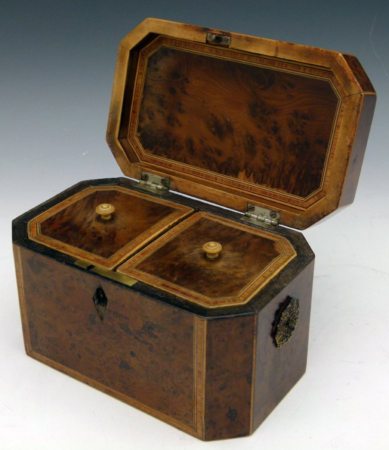 George III yew wood tea caddy banded with tulip wood,