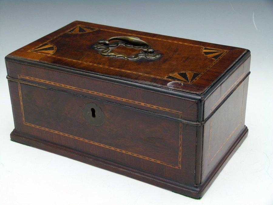Mid 18th century mahogany tea caddy inlaid with banding