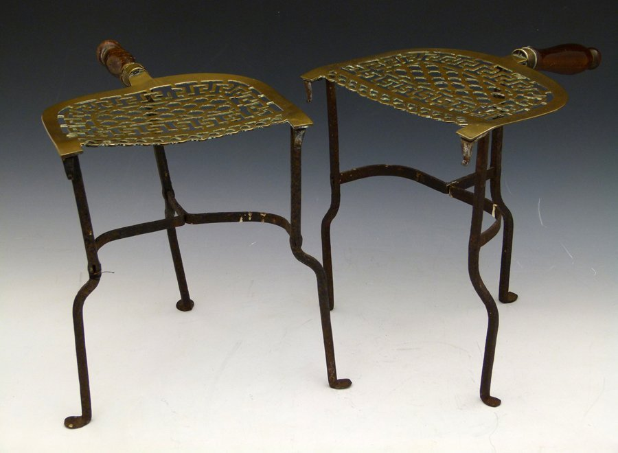 Pair of early 19th century fretwork brass footman