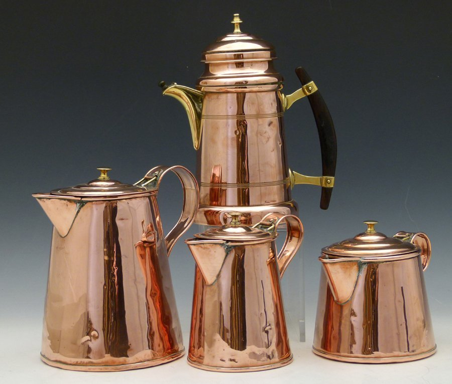 Bavarian copper coffee pot with a brass spout and