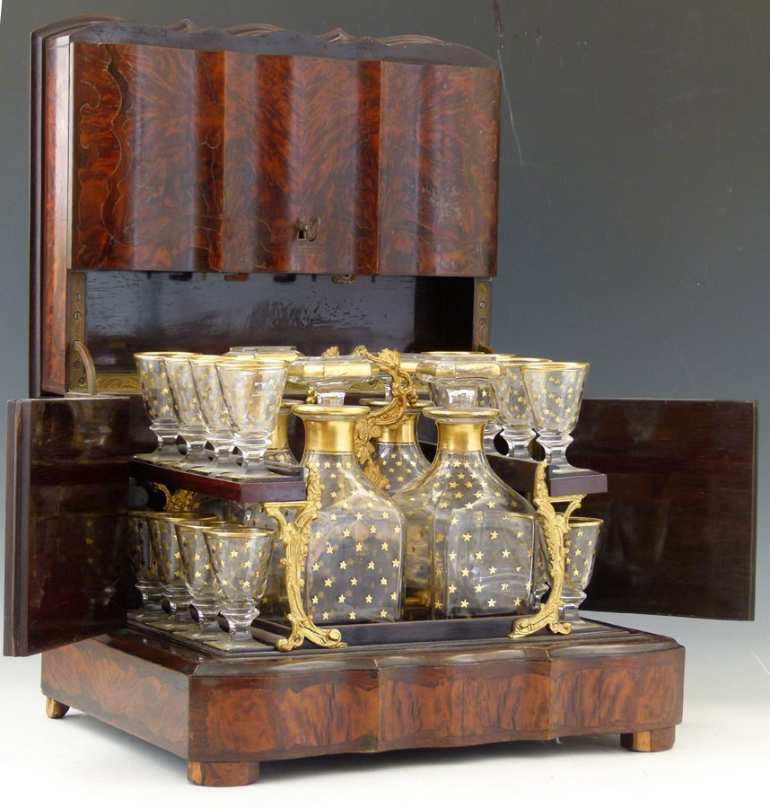 Amboyna wood table top liqueur cabinet, late 19th