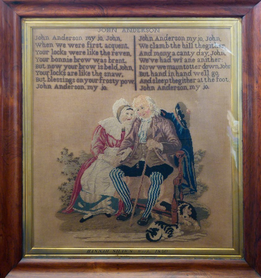 Woolwork picture by Hannah Shaw, 1850 of the verse and
