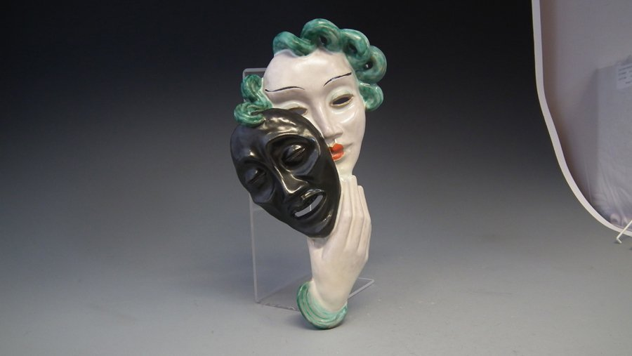 Goldscheider 'comedy' wall mask impressed and printed