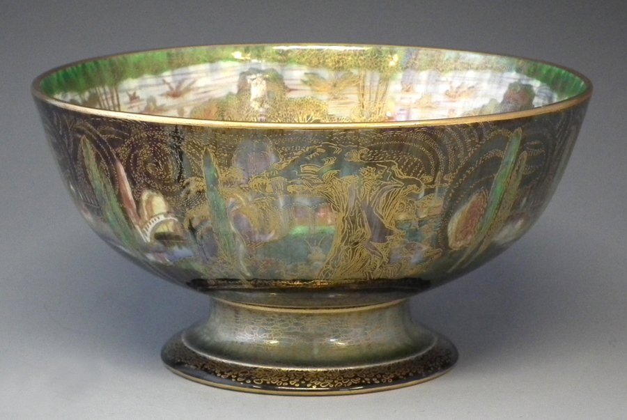Wedgwood Fairyland lustre footed bowl decorated with