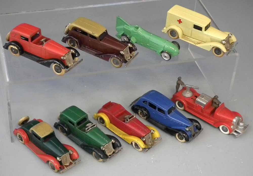 Nine early Tootsie Toy die cast toy vehicles.  (9)