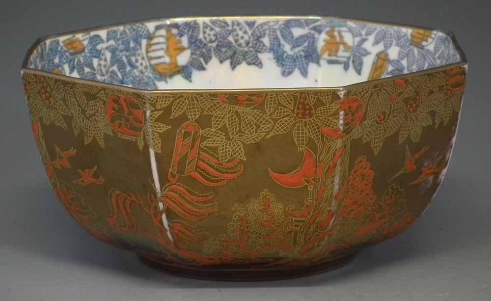 Wedgwood Fairyland lustre octagonal bowl  decorated