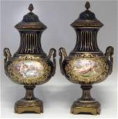 Pair of Ormolu mounted Sevres style vases signed Lancry
