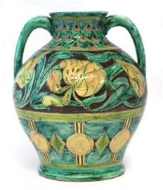 Della Robbia twin handled vase   incised by Charles