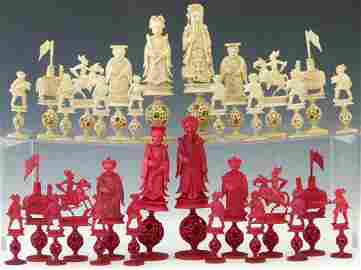 Chinese red and white ivory chess set, late 19th