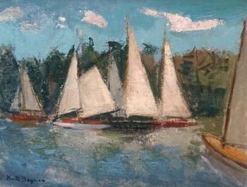 1: Keith Baynes - sailing boats, oil