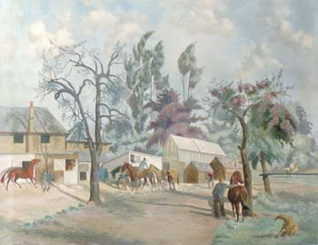 2: Mary Viola Paterson - horses by stables, oil