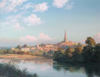 8: Max Hofler, River scene with church, oil