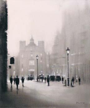 10: Anthony Robert Klitz - Dublin street scene, oil