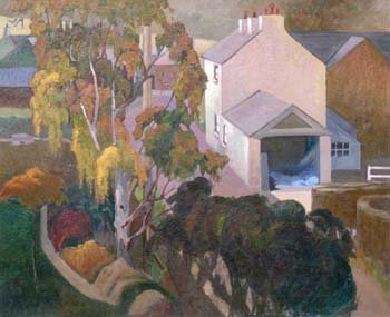 12: Marjorie Owens - trees and house, oil