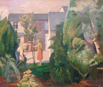 13: Marjorie Owens - figures gardening, oil
