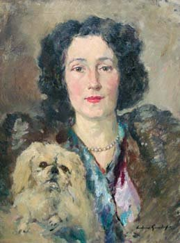 18: Andrew Gamley - portrait with dog, oil
