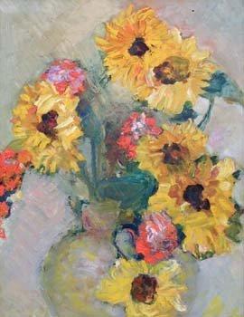 21: Clemence Dane, sunflowers in vase, oil