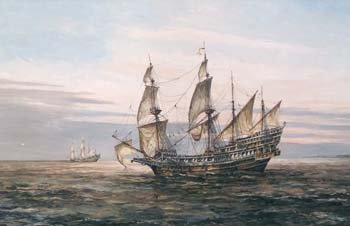 23: John Sutton - galleon at sea, oil