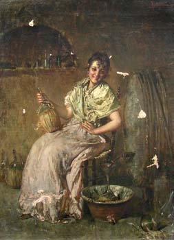 101: S. Partiglione, Girl pouring chianti, oil on canva