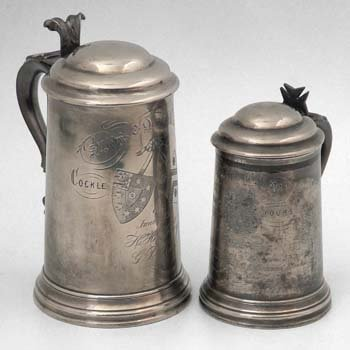 476: Two Rowing Regatta pewter tankards