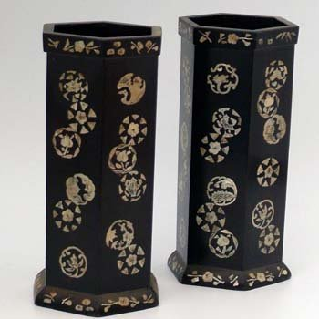496: Pair of mother of pearl inlaid hexagonal vases