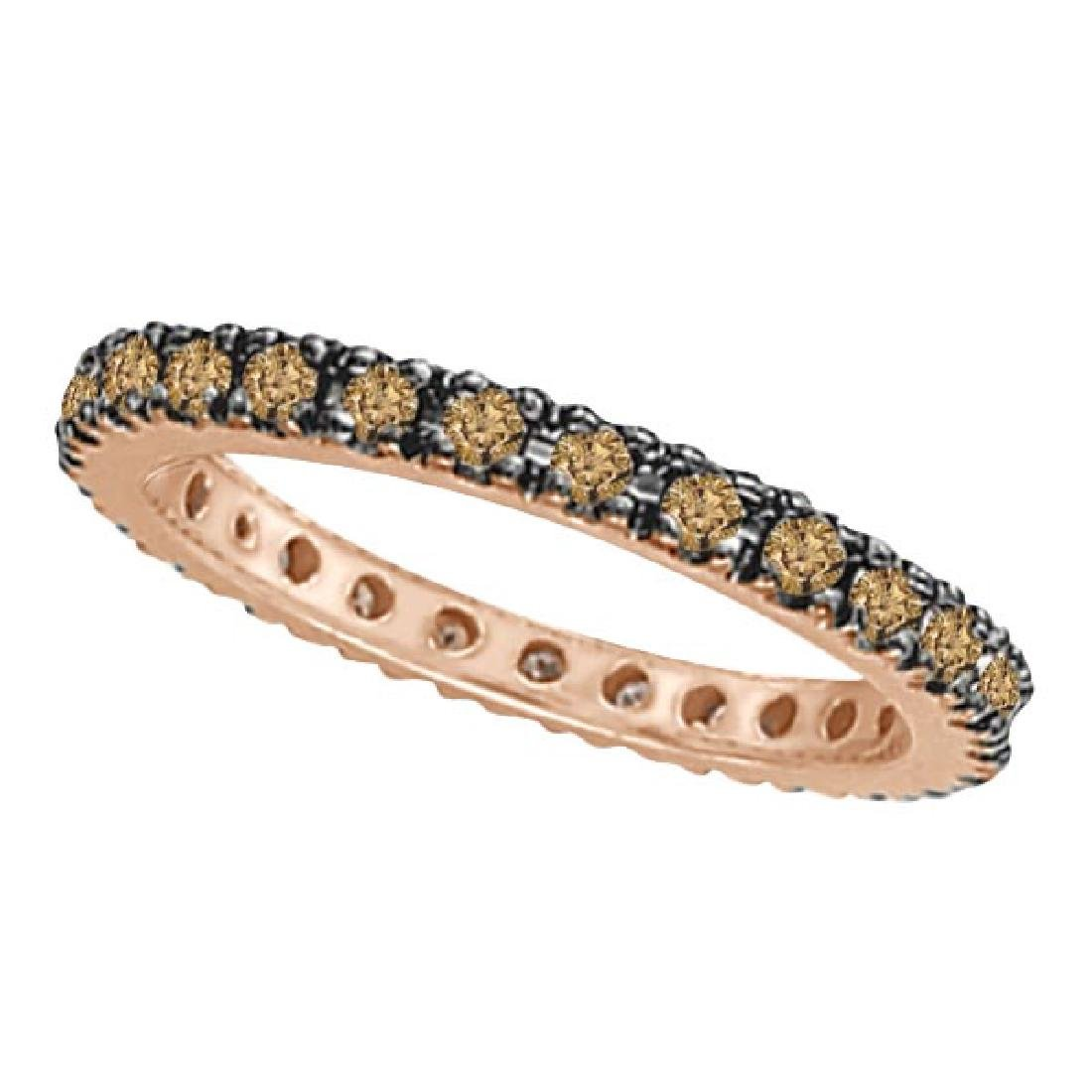 Champagne Diamond Eternity Ring Band in 14k Rose Gold (