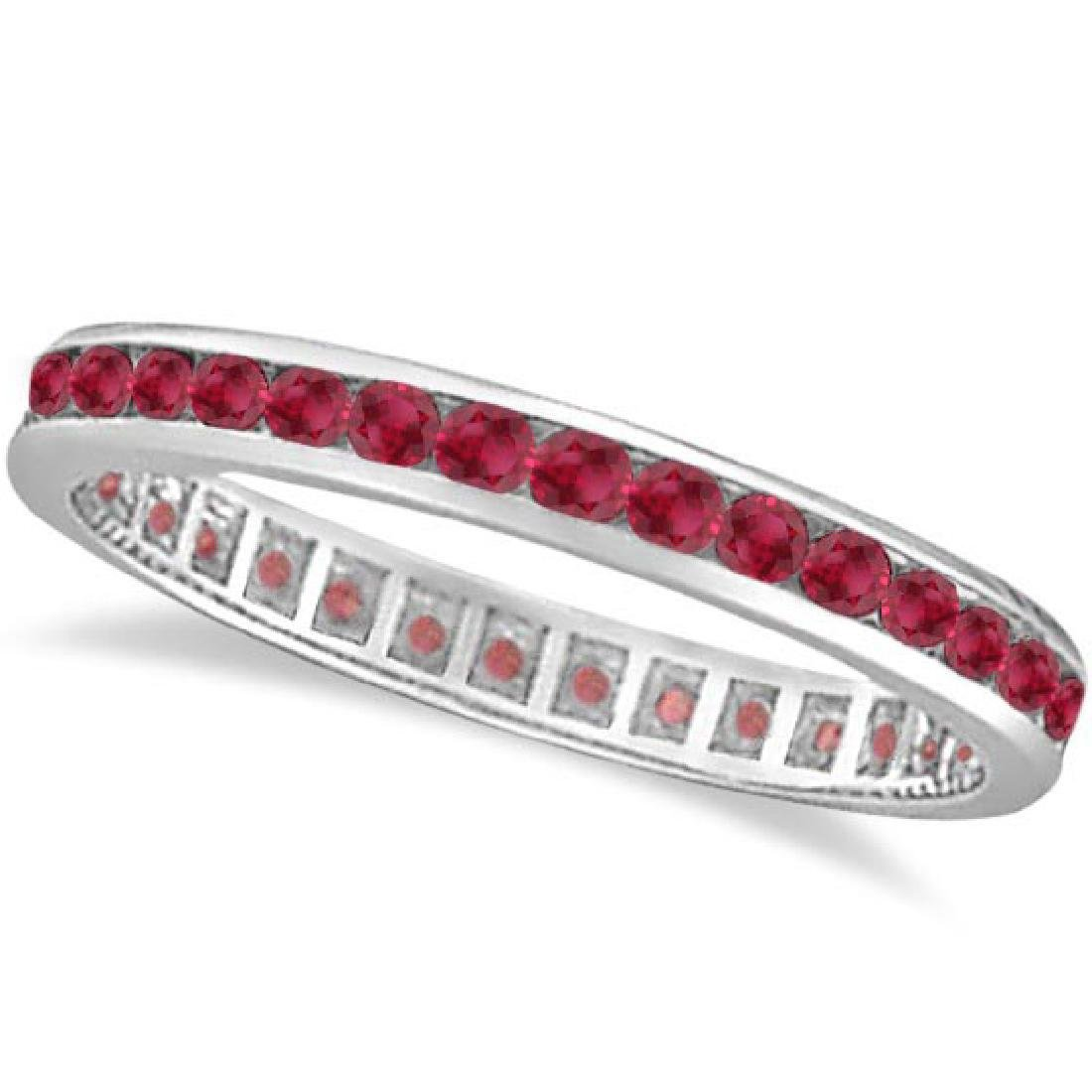 Ruby Channel Set Stackable Ring Eternity Band 14k White