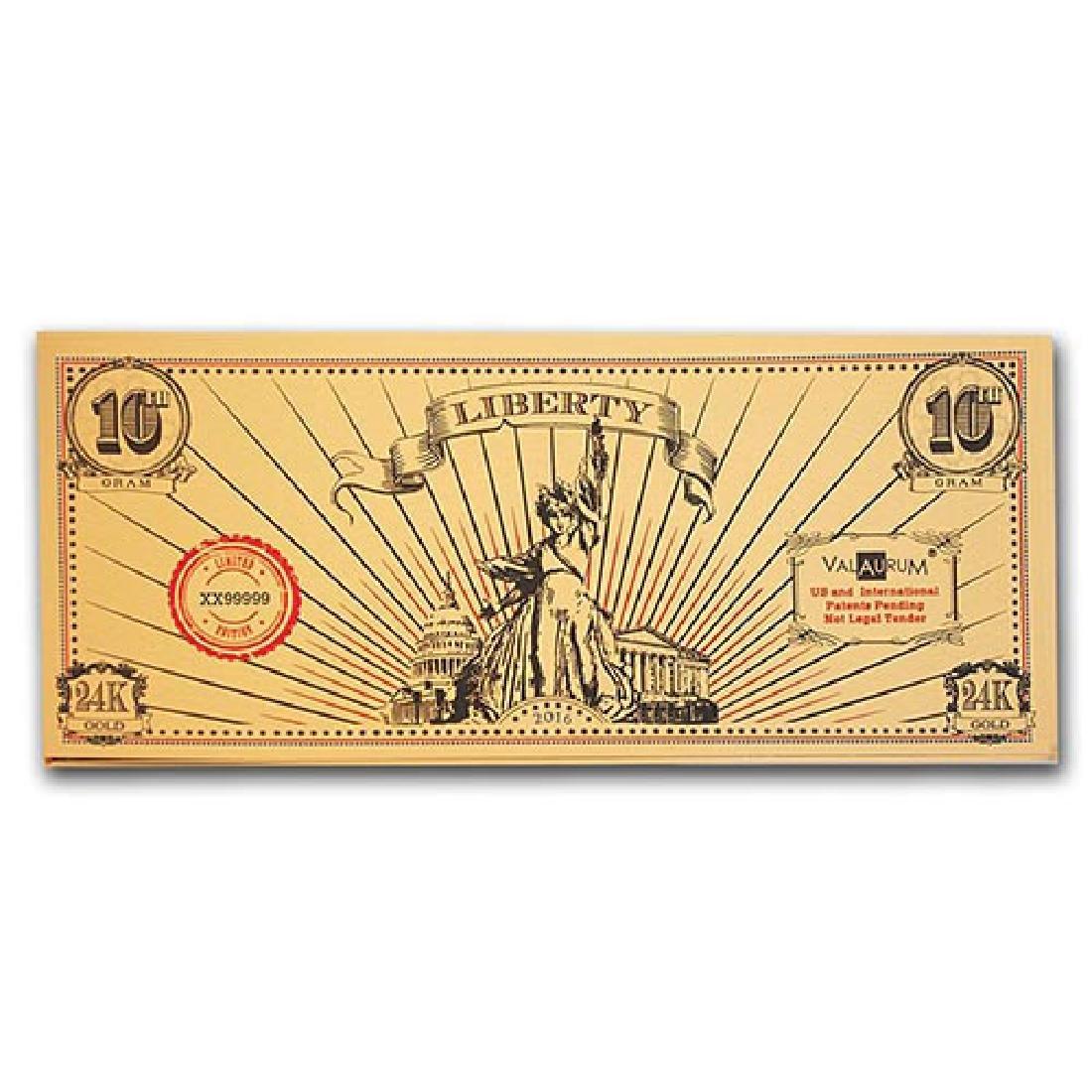 1/10 gram Gold Note - Valaurum (Lady Liberty Design, 24